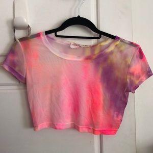 Emma & Sam cropped tie-dye mesh shirt